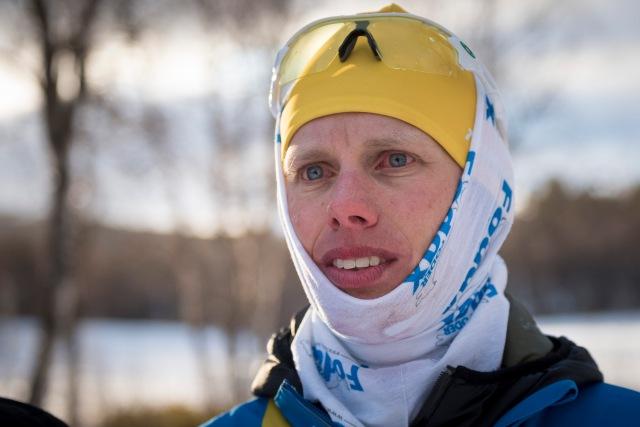 Vid världsrekordet (43,8 mil) i 24-timmars i Vålådalen 31 mars-1 april 2016. Foto: Magnus Östh.