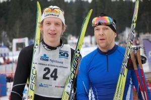 Anton Järnberg (t v) och Dan Moberg efter Jizerska Padesatka 2011