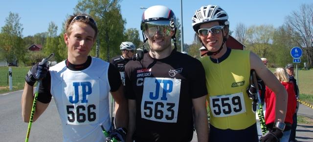 Marcus Johansson (2:a), Tobias Westman (1:a) och Erik Wickström (5:a). Även i fall jag inte kom först i mål vann jag i a f tävlingen i att se gladast ut efter målgång.