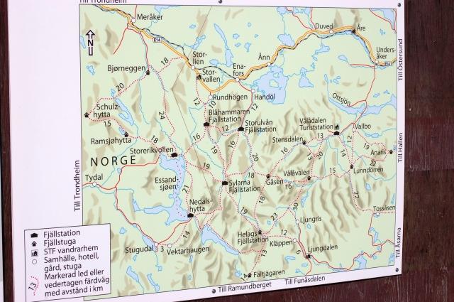 Karta över bland annat Storulvån och Sylarna.