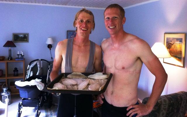 I svåger-Mattias stuga i Hammerdal serveras både hemmafiskat ICA-fiskat.