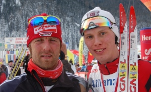 Erik Wickström med Axel Teichmann efter Dolomitenlauf 42 km F 2010