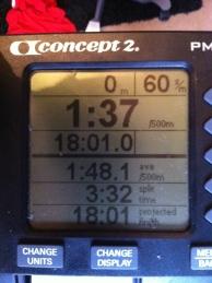 5000 m SkiErg på 18.01 min. Mitt pers. Z hotar mig, han är nere på 18.26 min nu.