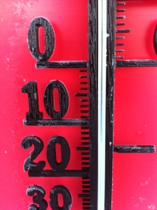 -13 grader i Oxberg igår eftermiddag