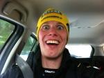 Glad efter målgång på väg till duschen i bil (Olle körde)