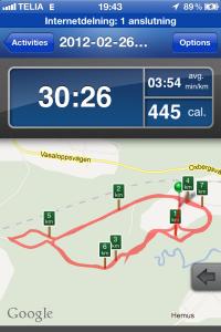 """Jag invigde appen """"Run Keeper"""" på veckans enda träningspass"""