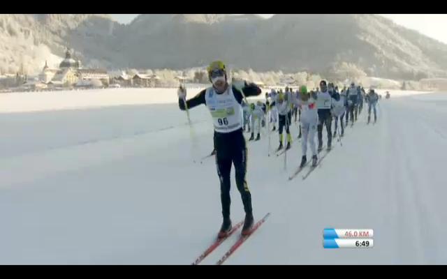 Skärmdump från TV efter 4,2 km
