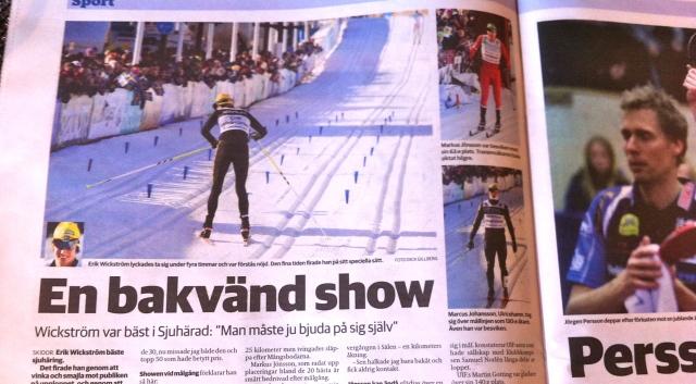 Borås Tidning lyckades fånga mig på bild när jag skar mållinjen i Vasaloppet.