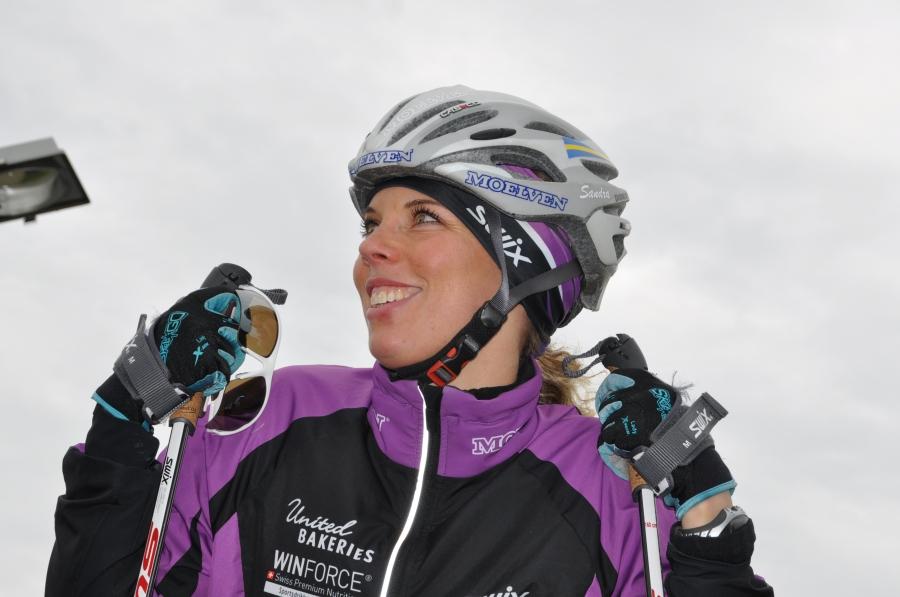 Sandra Hansson körde sitt första pass på tävlingsskejt igår och slog banrekord idag.