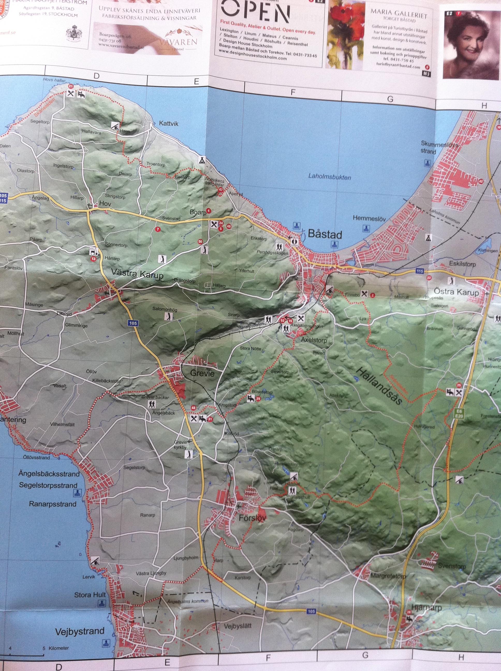 bjärehalvön karta Karta över Bjärehalvön inklusive Hallandsåsen.   Erik Wickström  bjärehalvön karta