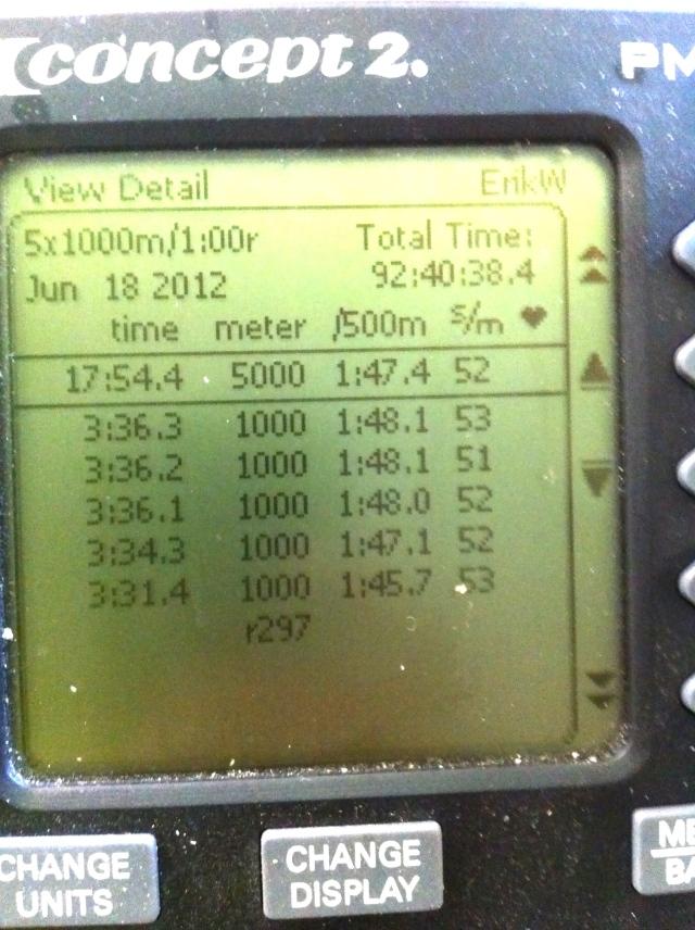 5 st 1000 m-intervaller på SkiErg med 1 min vila.