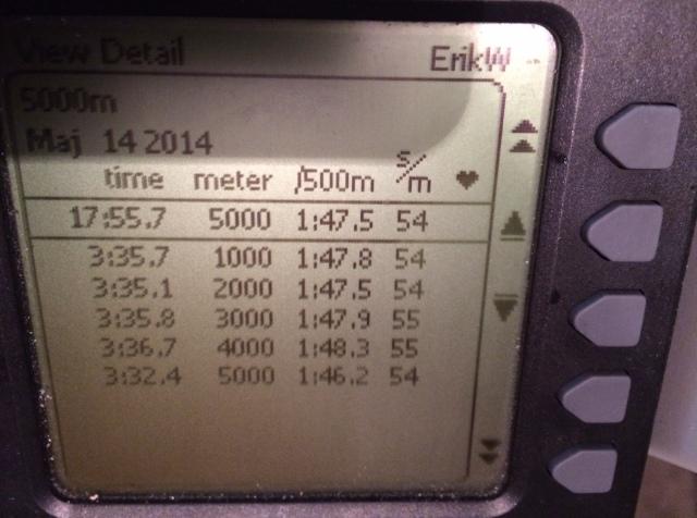 5000 m SkiErg på 17.55 min5000 m SkiErg på 17.55 min