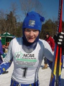 Sigrid Aas efter 2:a-platsen i NCAA (collegefinalerna) i Hanover, New Hampshire 2003