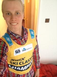Här får jag mina 15 sekunder i Swix Ski Classics ledartröja.