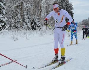 Rickard Bergengren, Ski Team Skåne, i Ulricehamnsloppet i söndags. Foto: Martin Eckervad, Ski Team Syd.