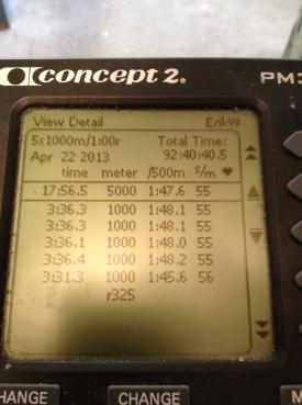 5 st 1000 m-intervaller på SkiErg igår. Snitt 3.35 min. Motstånd 8. Mitt rekord är 3.31 min i snitt, men 3.35 min är faktiskt tangerat (med tre andra tillfällen) näst bästa serien någonsin.