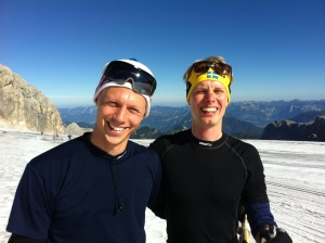 Martin och jag på glaciären i Ramsau i höstas