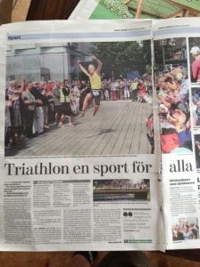 Min triathlonmålgång i Borås Tidning igår