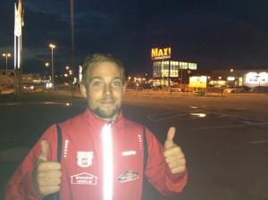 Daniel Abrahamsson, mitt resesällskap. För övrigt pajade även vår franska finess vänsterblinkers på väg på Jönköping. Den bilen slutar aldrig förvåna.