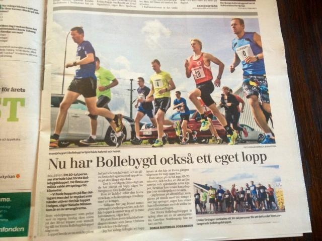 Borås Tidningen om Bollebydsloppet idag