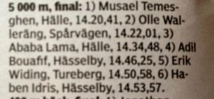Musael Temesghen tog hem SM på 5000 m i Borås i helgen. Jag skjutsade ner honom från Mora efter VasaStafetten förra året. Det måste vara min största löpmerit.