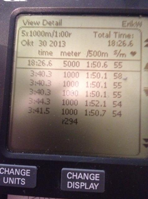 SkiErg-intervaller 5*1000 m med 1 min vila. Snitt 3.41 min.