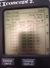 På måndagens SkiErg-pass lyckades jag köra exakt 324 meter på samtliga tio 70s/20s-intervaller. Mäktigt!