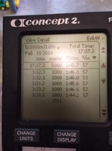 SkiErg-intervaller 5 st 1000 m med 1 min vila på motstånd 8.