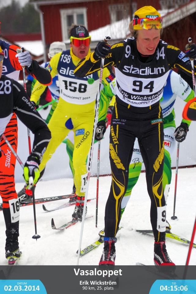 Vasaloppet 2014. Svängen innan upploppet. Här ligger jag strax före Østein Pettersen, Jens Eriksson och Jerry Ahrlin. Bilden har jag köpt från sportfoto.se.