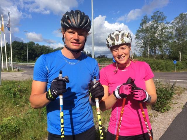 Karl-Johan Westberg och Maria Nordström. Kalle kommer från Hillared, ca 10 km Aplared där Ida och jag har stuga, så vi tränar ibland på sommaren. Kalle kör för Borås SK och Maria är klubbkompis med mig i Ulricehamns IF.
