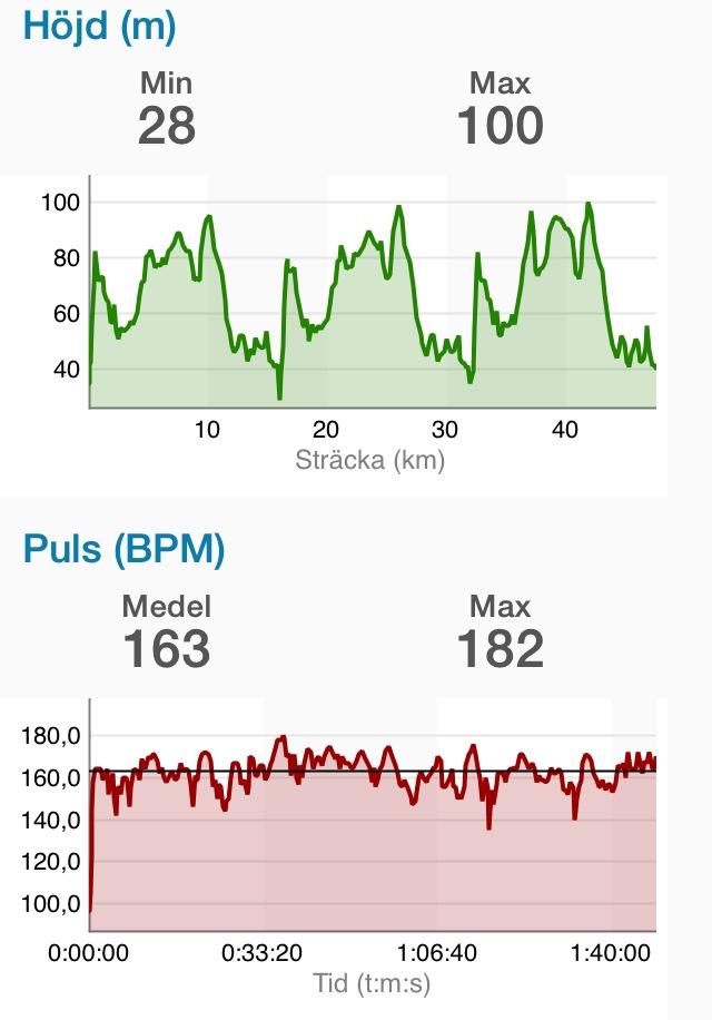 Mitt max är 185, så jag hade alltså 88 procent av maxpuls i snitt i 1:48 h på rullskidor. Så mycket jag har nog aldrig tagit i under ett långlopp.