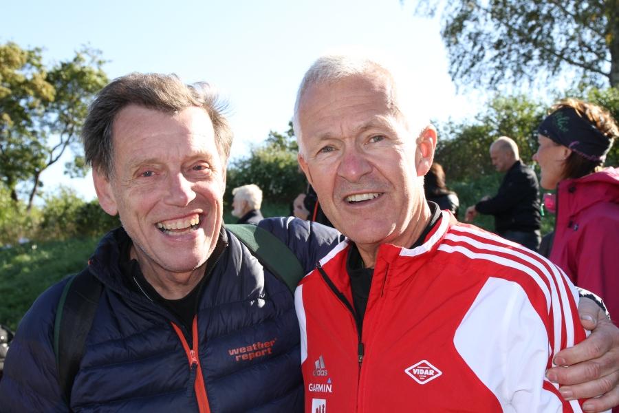 Dan Glans, svensk rekordinnehavare på 3000 meter, tillsammans med Grete Weitz man Jack.