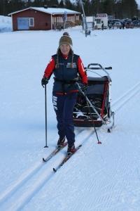 Chariot Carrier för två barn för skidåkning