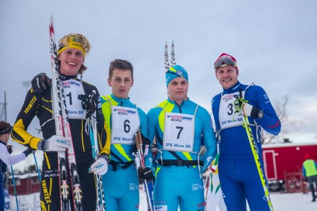 Intersportloppet 2015. 4:an Erik Wickström, 1:an Oscar Persson, 2:an Jack Impola och 4:an Lars Suther. Foto: Adam Johansson, Adamediamedmera
