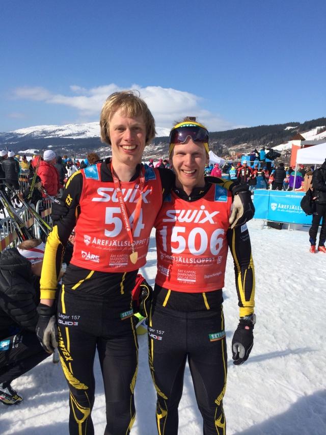 Jag och Emil Ekman efter Årefjällsloppet förra året