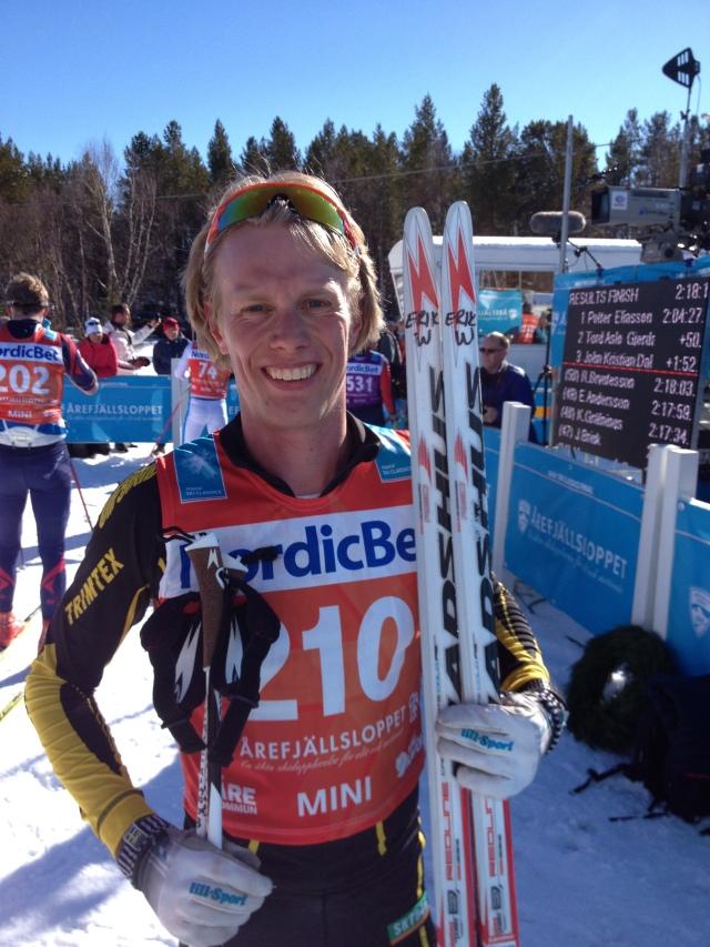 Erik Wickström efter Årefjällsloppet 2015. Foto: Johan Kask.