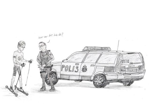 Rullskidsteckning polis