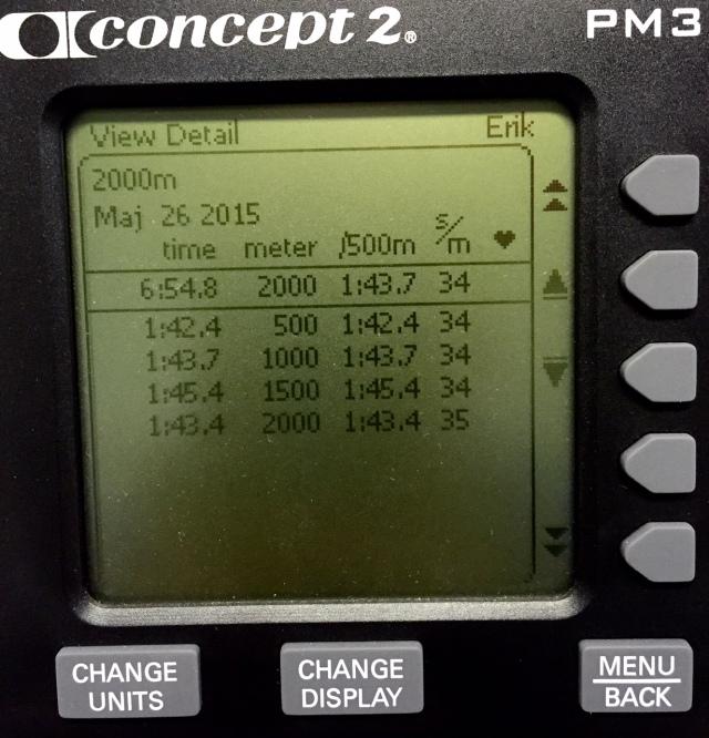 2000 m rodd på 6.54 min på motstånd 6