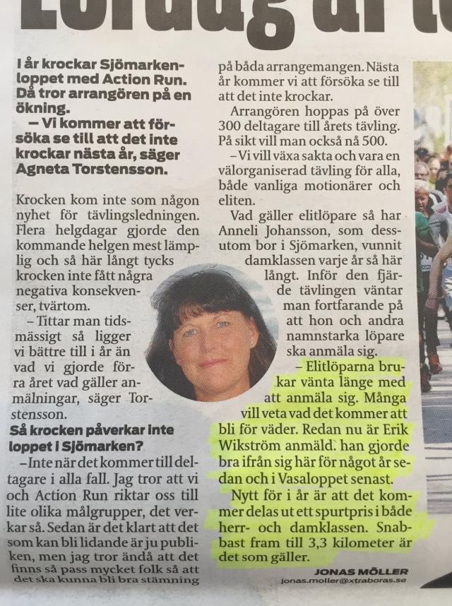 Xtra Borås om Sjömarksloppet
