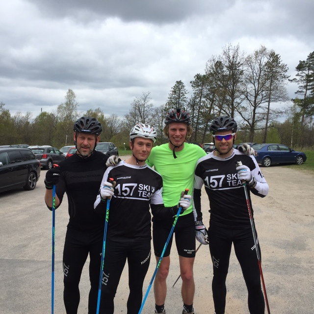 Lager 157 SKI TEAM + en groupie: Stefan Palm, Marcus Johansson, Erik Wickström och Jörgen Brink.