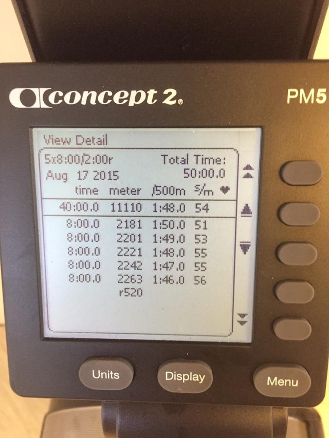 """""""Nya"""" SkiErgen. 5 st 8 min-intervaller med 2 min vila. Snittfart 1.48 min/500 m."""