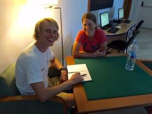 Katarina Smutna och jag på Hotel Fontanellas