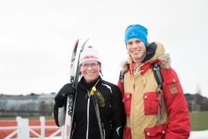 Lena Andersson och jag på Gärdet i Stockholm