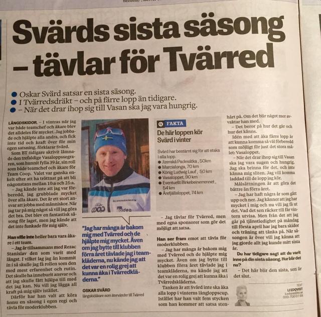 Oskar Svärd intervjuad i Borås Tidning 3 oktober 2015
