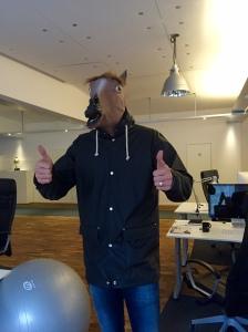 David Caley på Rekyl, reklambyrån där jag sitter och jobbar, hittade något i hästväg att sätta på huvudet i samband med Halloween.