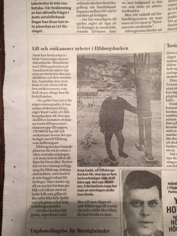 Borås Tidning idag. Tydligen kanns konstsnö i Borås redan för 50 år sedan. I elfsborgsbacken, eller Hultabacken, som jag trodde den kallades.