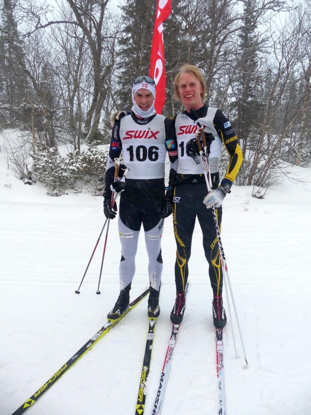 Thomas Northug och Erik Wickström. Han till höger vann spurten. Foto: Per Bränning, Sweare.com