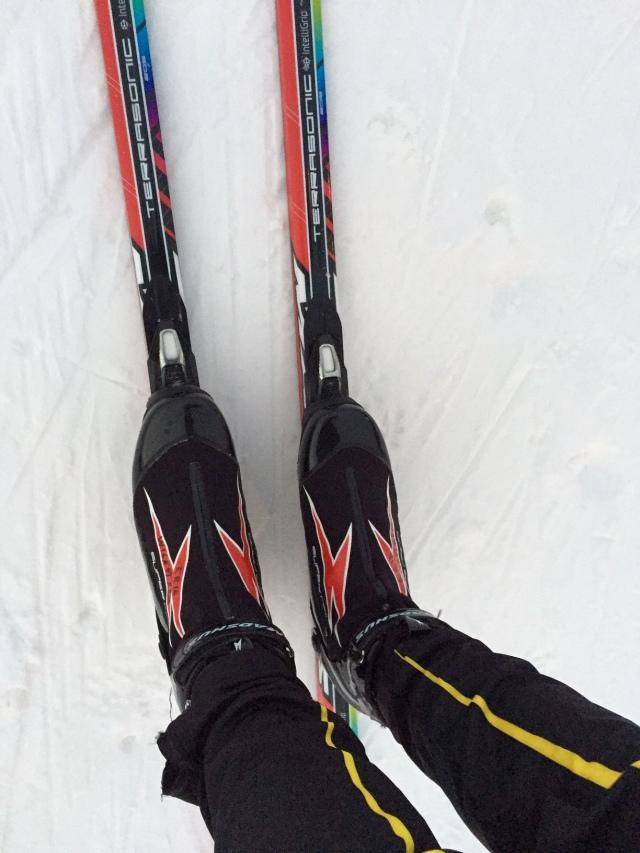 Det blir skejtskor idag pga en del kurvor som kan bli isiga. Annars föredrar jag att staka i klassiska skor.