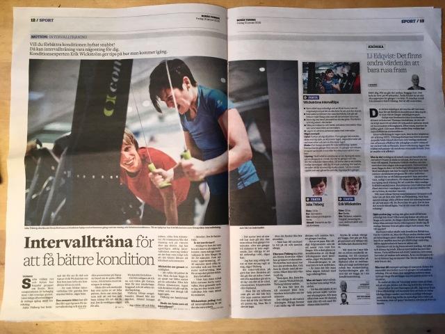 Julia Thiberg kör SkiErg. Borås Tidning fred 15 jan 2015. Motion - intervallträning.