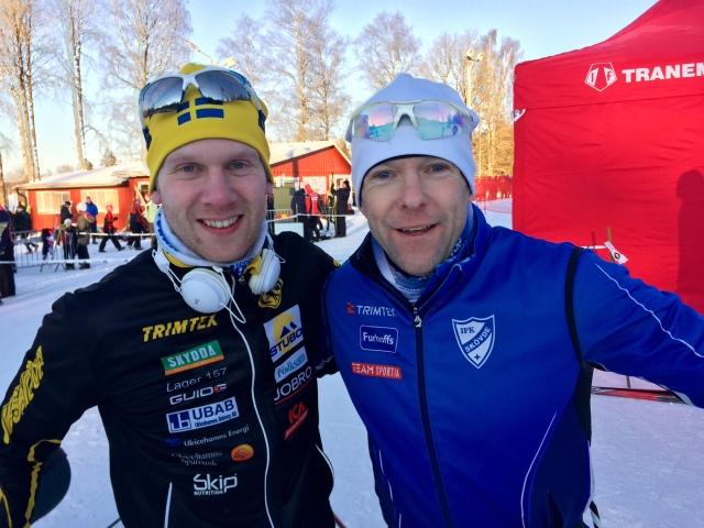 Emil Ekman och Dan Moberg efter avslutat lopp